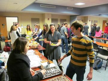Look at the line for Amy's 'table of plenty' for the 2/19/2013 Penn State Hershey Christian Medical Society (CMS)/CMDA Lunch Lecture! What a joy to serve at PSU-Hershey! To God be the glory! [Photo Credit to Tom Grosh]